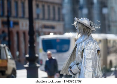 Russia, Saint Petersburg, may 23, 2020:a human artist depicts a monument on the street