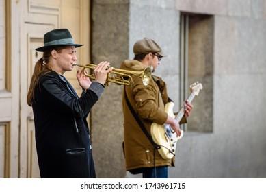 Russia, Saint Petersburg, may 23, 2020: street musicians in Saint Petersburg