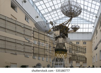 Russia. Saint - Petersburg. November 2016. The satellite for transmitting communications signals installed in the yard under a transparent roof.
