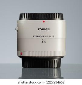RUSSIA, SAINT PETERSBURG - OCTOBER 22, 2018: Canon Extender EF 2x III