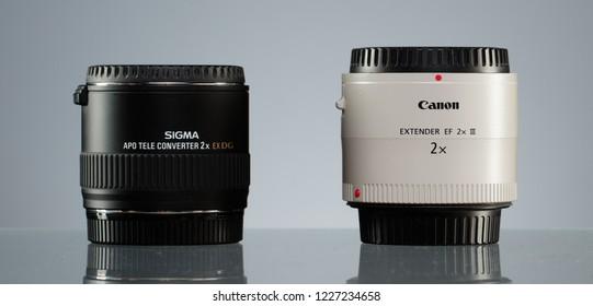 RUSSIA, SAINT PETERSBURG - OCTOBER 22, 2018: Canon Extender EF 2x III and Sigma APO Tele Converter 2X EX