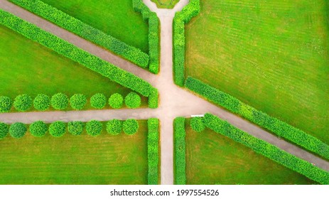 RUSSIA, SAINT PETERSBURG, PUSHKIN - JUNE 26, 2021: Walk in Catherine Park and a bird's eye view, Regular Park