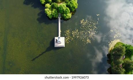 RUSSIA, SAINT PETERSBURG, PUSHKIN - JUNE 26, 2021: Walk in Catherine Park and a bird's-eye view, Big Pond
