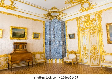 Russia. Saint Petersburg. Tsarskoe selo. July 04, 2019. Interior of the Catherine Palace. Small white dining room.