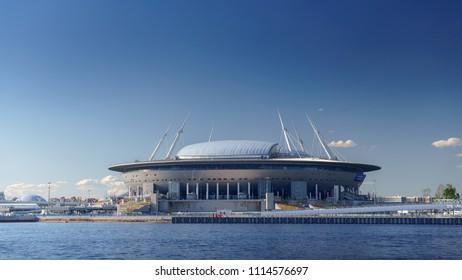 Russia, Saint-Petersburg, 14 June 2018:  sea view of the stadium Zenit Arena,  the FIFA World Cup in 2018, Saint Petersburg, Russia