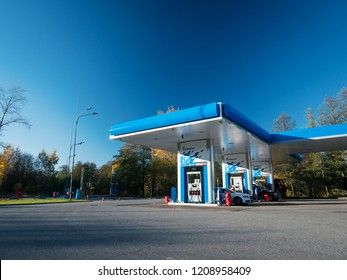 Russia, Saint-Petersburg - 15.10.2018: Gazprom Petrol station in sunny day. Its a large Russian fuel company