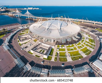 Russia, Saint-Petersburg, 23 July 2017: Aerial view of the stadium Zenit Arena, most expensively in the world, the FIFA World Cup, stadium roof, sunny day, morning, nobody, confederation cup