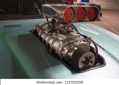 Russia, Saint-Petersburg, 31 May 2018: Turbo charger on race car engine.