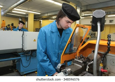Russia, Saint-Petersburg - February 16, 2012: Mechanical workshops of  Mechanical College, students are trained metals cutting processing
