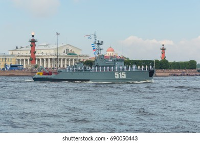 Russia, Saint-Petersburg, July 30, 2017 in the waters of the Neva basic minesweeper ship 515.