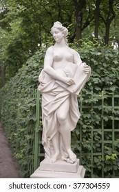 "RUSSIA; SAINT-PETERSBURG - JULY 5 - The sculpture ""Allegory of mercy"" in the Summer Gardenin on July 5; 2015 in St. Petersburg"