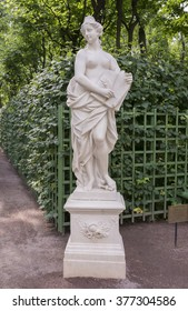 "RUSSIA; SAINT-PETERSBURG - JULY 5 - The sculpture ""Allegory of mercy"" in the Summer Garden on July 5; 2015 in St. Petersburg"