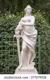 """RUSSIA; SAINT-PETERSBURG - JULY 5 -The sculpture """"Allegory of Justice"""" in the Summer Garden on July 5; 2015 in St. Petersburg"""