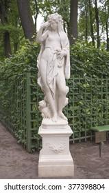 "RUSSIA; SAINT-PETERSBURG - JULY 5 -The sculpture ""Night"" in the Summer Garden on July 5; 2015 in St. Petersburg"
