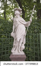 "RUSSIA; SAINT-PETERSBURG - JULY 5 -The sculpture ""Minerva"" in the Summer Garden on July 5; 2015 in St. Petersburg"