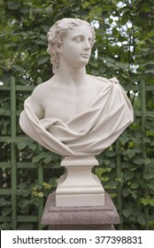 """RUSSIA; SAINT-PETERSBURG - JULY 5 -The sculpture """"A young man"""" in the Summer Garden on July 5; 2015 in St. Petersburg"""