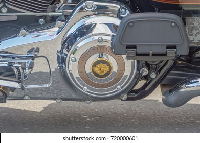 Russia, Saint-Petersburg, Ostrovsky square, August 3, 2017 - festival Harley Davidson, motorcycle engine closeup.