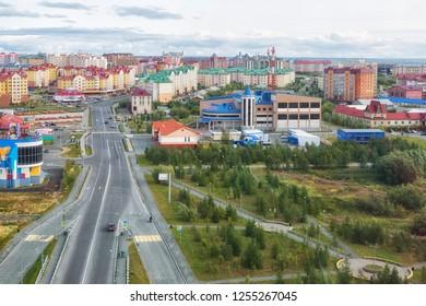 RUSSIA, SALEKHARD - AUGUST 29, 2018: View of the residential quarter of Salekhard