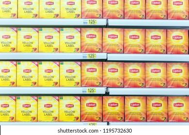 Russia, Samara, April 2018: Lipton tea boxes on the shelf stores.