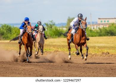 Russia, Samara, August, 2018: Horse racing at the equestrian festival.