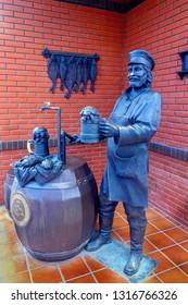 Russia Samara August 2018: Monument to the Samara brewer near the Zhiguli brewery in Samara.