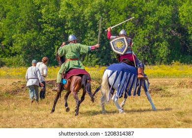 """Russia, Samara, August, 2018: Participants of the equestrian program """"Competitions of medieval horsemen"""". Military history festival """"Military case""""."""