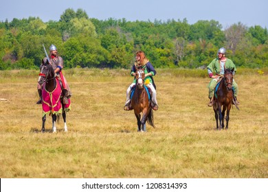 "Russia, Samara, August, 2018: Participants of the equestrian program ""Competitions of medieval horsemen"". Military history festival ""Military case""."