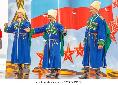 """Russia, Samara, February 2017: Performance of the state ensemble of song and dance """"VOLZH COSSACKS""""."""