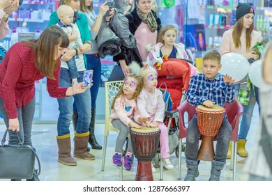 Russia, Samara, February 2018: Master class on drums with children.