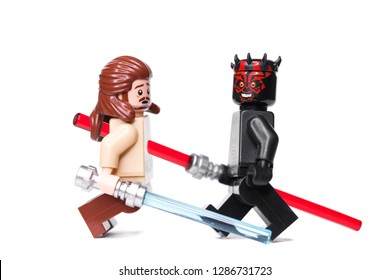 RUSSIA, SAMARA - January 17, 2019. Constructor Lego Star Wars. Duel between Qui-Gon Jinn and Darth Maul
