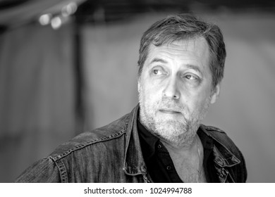 Russia, Samara, July 2016: a portrait of Nikita Vysotsky at the Grushin festival on Summer Day. Nikita Vladimirovich Vysotsky is a Soviet and Russian theater and cinema actor.