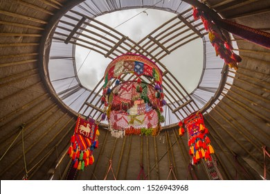 Russia, Samara, July 2019: Kazakh yurt. Shanyrak A round hole in the dome of the yurt is a symbol of the house.