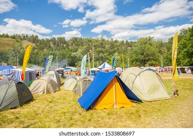 Russia, Samara, July 2019: Tourist tents at the Grushinsky festival.