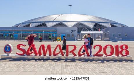 Russia, Samara, June 2018: football stadium Samara arena on match day Serbia Costa Rica.