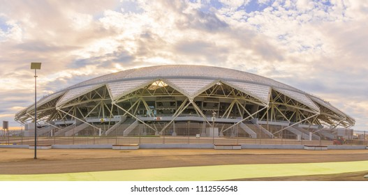 Russia, Samara, June 2018: The great beautiful new stadium of Samar Arena is ready to host the 2018 World Cup.