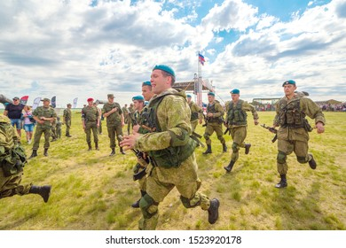 Russia, Samara, June 2019: young paratroopers at demonstrations in full combat gear.