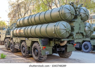 Russia, Samara, May 2017: S-300 anti-aircraft missile system on a city street prepared for the Victory Day parade on a spring sunny day.