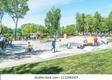 Russia, Samara, May 27, 2018: Cyclists ride BMX bikes in a skatepark
