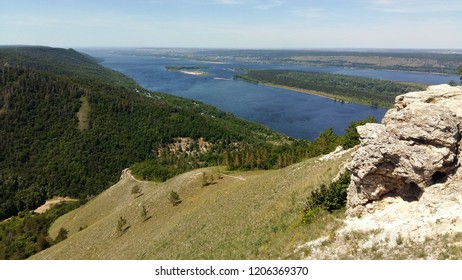 Russia, Samara  National Park, the main attraction of the mountain Strelna, the highest point of the Zhiguli Mountains