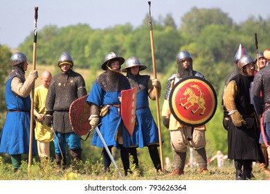 Russia, Samara region, August 10, 2014: reconstruction of the battle between the troops of Timur and Tamerlane and the Golden Horde army of Khan Tokhtamysh, Armed soldiers are ready for battle