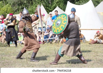 Russia, Samara region, August 10, 2014: reconstruction of the battle between the troops of Timur and Tamerlane and the Golden Horde army of Khan Tokhtamysh, the battle between soldiers