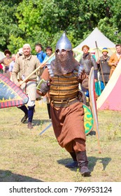 Russia, Samara region, August 10, 2014: reconstruction of the battle between the troops of Timur and Tamerlane and the Golden Horde army of Khan Tokhtamysh, a soldier in chain mail and helmet