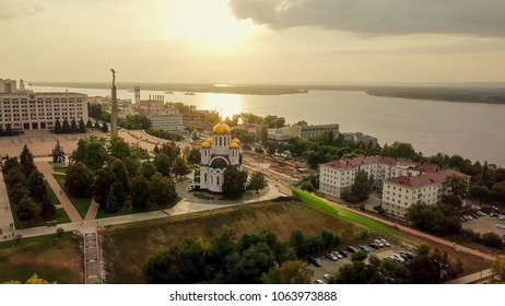 Russia, Samara - September 14, 2017: view of the square of glory. Monument of Glory, the Temple in honor of the Holy Great Martyr George the Victorious. Government of Samara Region