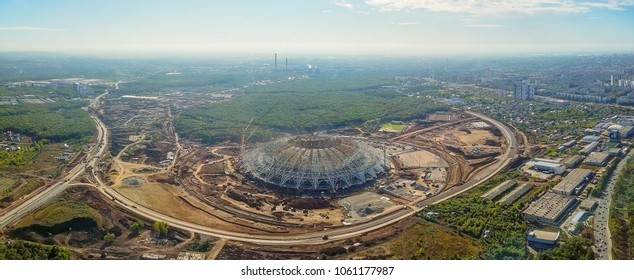 Russia, Samara - September 15, 2017: Construction of a football stadium in the city of Samara. Samara - the city hosting the FIFA World Cup in Russia in 2018