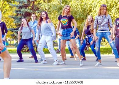 "Russia Samara September 2017: Dancing at the festival ""Dance Fair"" in Gagarin Park"