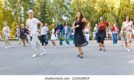 "Russia Samara September 2017: Dancing at the festival ""Dance Fair"" in Gagarin Park"