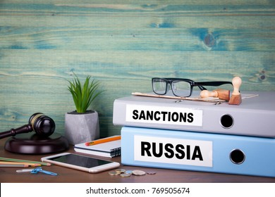 Russia and sanctions concept. Politics and business relations.