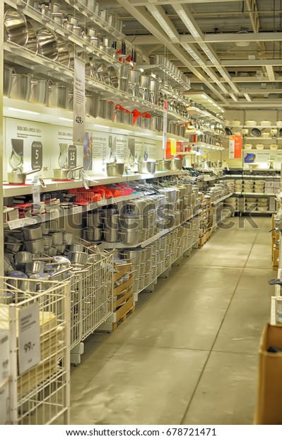 Russia, Sankt-Petersburg - 26.12.2013: Interior of large IKEA store with a wide range of products in Malmo, Sweden. Ikea was founded in Sweden in 1943, Ikea is the world's largest furniture retailer.