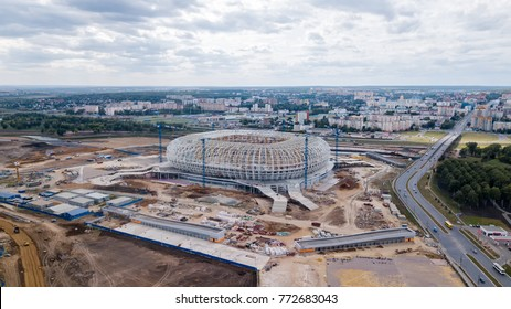 Russia, Saransk - August 25, 2017: Place of the 2018 FIFA World Cup in Russia. View of the city of Saransk, the construction of the stadium