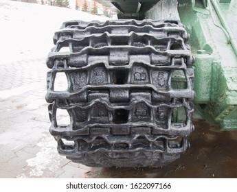 Russia, Saransk. January 21, 2020.Truck caterpillar tracks. Close-up rear view. Museum of military equipment.